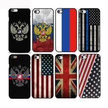 цена на Russian / American / British flag national emblem phone Hard Plastic Case Cover For iphone 4s 5s se/6/6plus/7 7plus 8 8plus x