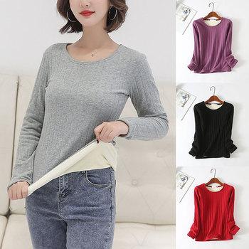 2020 Winter Women Long Sleeve TopWarm T-Shirt Thicken Plus Velvet Thermal Underwear Casual O Neck Slim-Fit Soft Bottoming Shirt 1