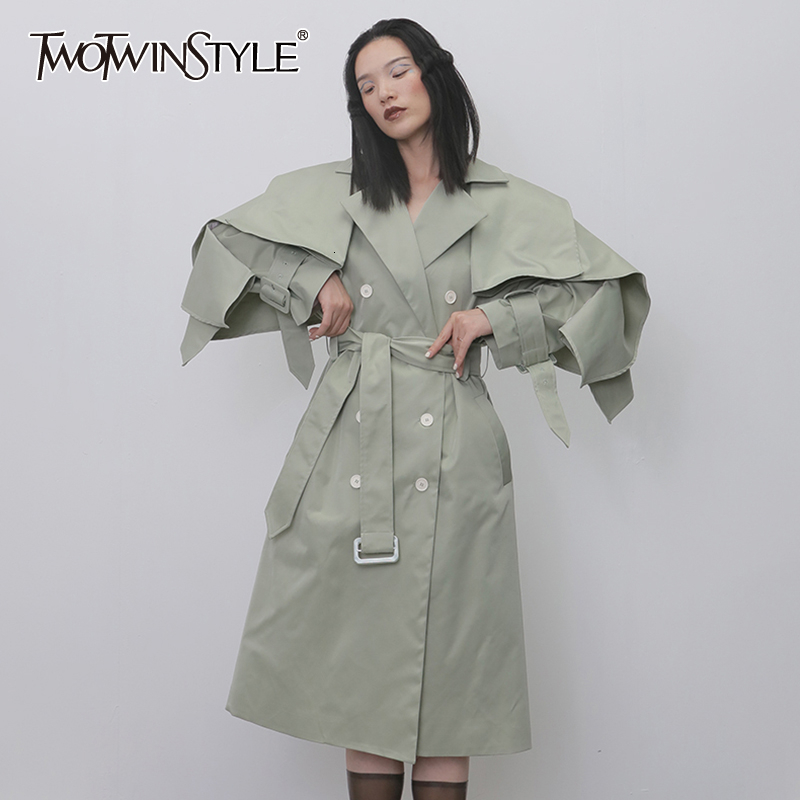TWOTWINSTYLE Casual Trench Coats For Women Lapel Collar Long Sleeve High Waist Lace Up Windbreakers Female Fashion 2019 Clothing