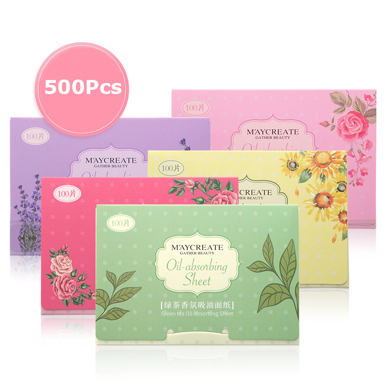 500pcs/Set Fragrant Tissue Paper Face Oil Absorbing Paper Plant Fibres Breathable Oil Control Absorbent Paper Beauty Makeup Tool