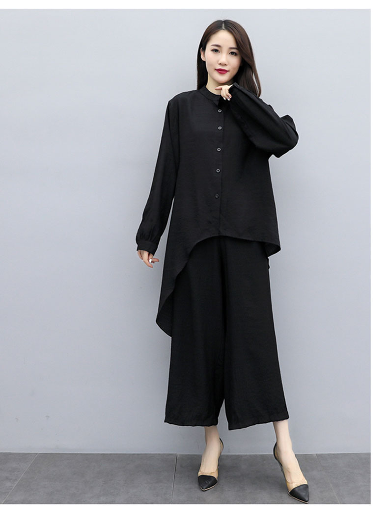 2019 Autumn Cotton Linen Casual Two Piece Sets Outfits Women Plus Size Long Sleeve Tops And Wide Leg Pants Suits Vintage Sets 53