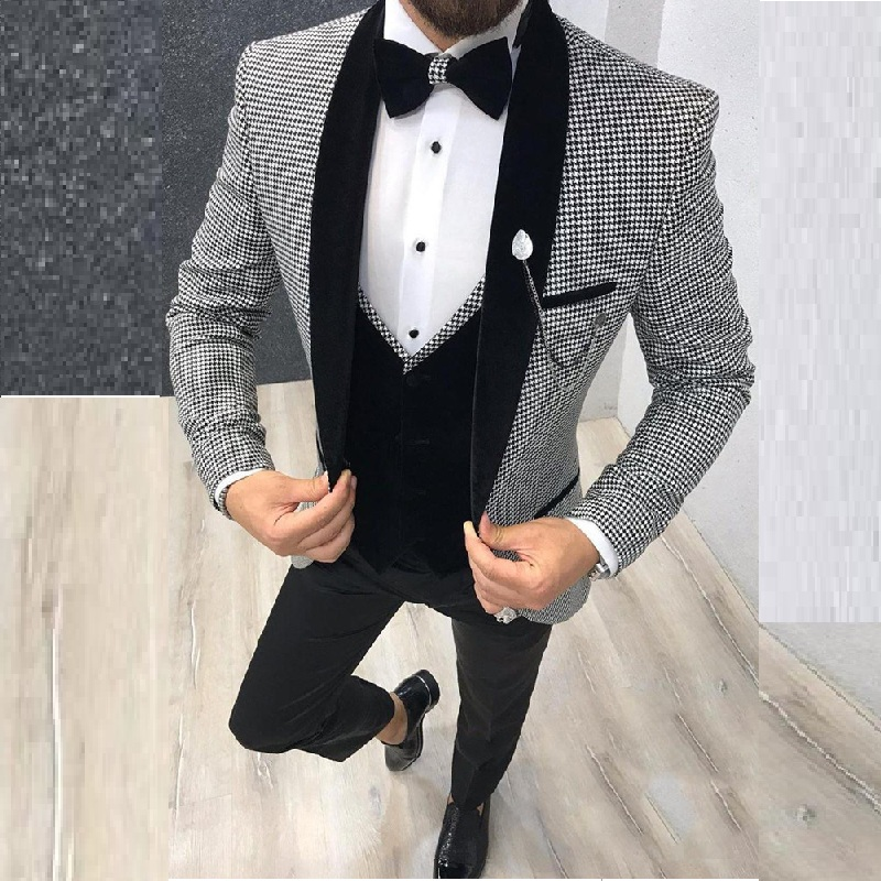 Newest Groomsmen Shawl Black Lapel Groom Tuxedos One Button Men Suits WeddingPromDinner Best Man Blazer ( Jacket+Pants+Vest)