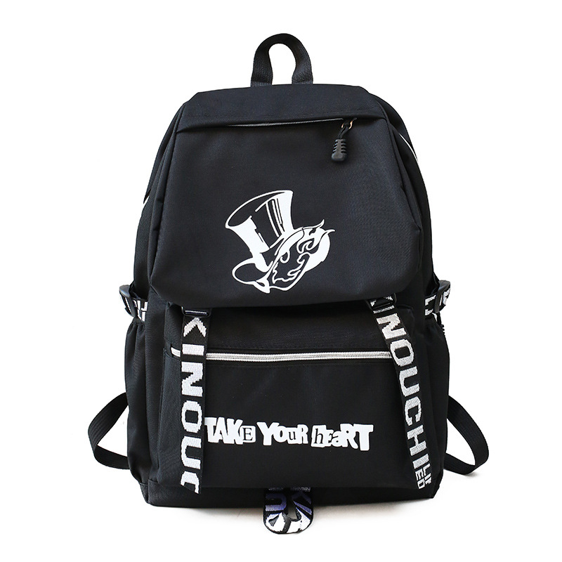 Fashion <font><b>Persona</b></font> <font><b>5</b></font> <font><b>Backpack</b></font> Male Outdoor Student Shoulder Bag Schoolbag Trend Anime P5 Printing Nylon <font><b>Backpack</b></font> Female image