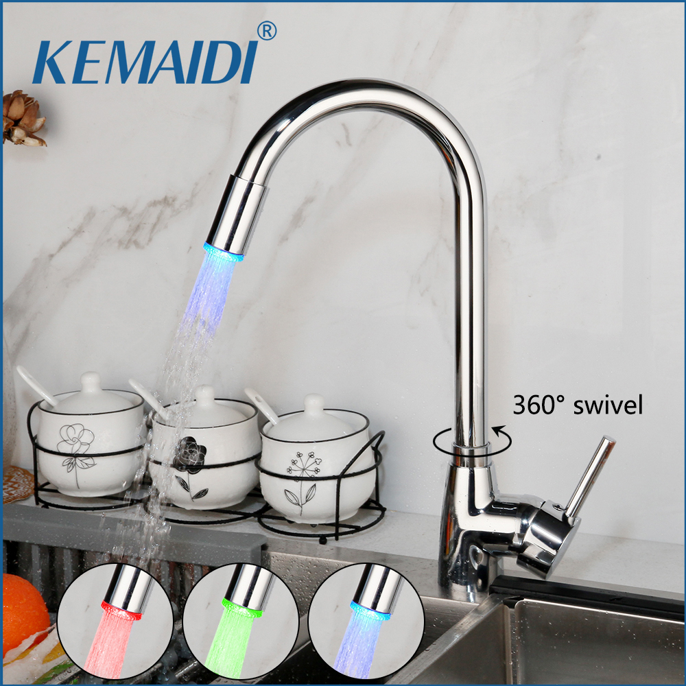 KEMAIDI LED Swivel Kitchen Faucet 360 Degrees Chrome Brass Kitchen Mixer Basin Sink Faucet Stainless Steel Water Mixer Tap