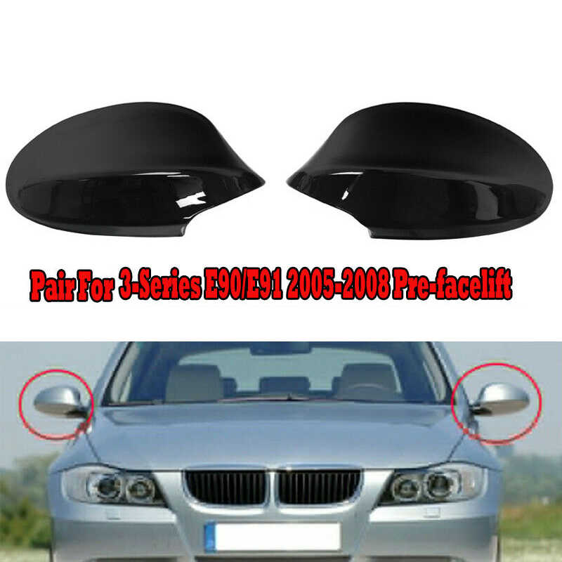 2X Glossy Black Side Mirror Cover Compatible with BMW 2005-2008 E90 E91