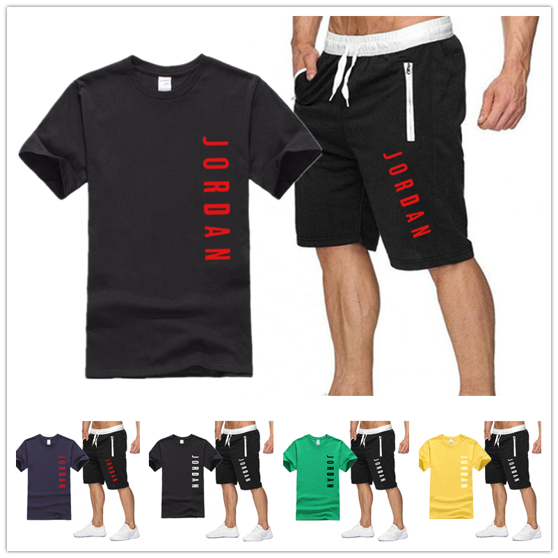 New men's printed leisure brand suit 2020 summer two piece set men's Short Sleeve T-Shirt Top + shorts men's sports fitness suit