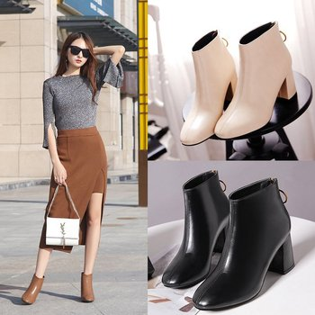 Round Toe High Square Heel Casual Fall Ankle Boots Women Solid Chelsea Fashion Boots PU Platform Ankle Zip Retro Shoes Plus Size