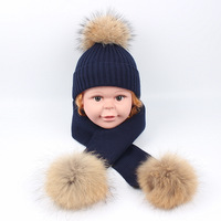 Autumn and winter new scorpion hair ball knit hat scarf set cute boy and girl baby solid color wool warm hat Skullies & Beanies
