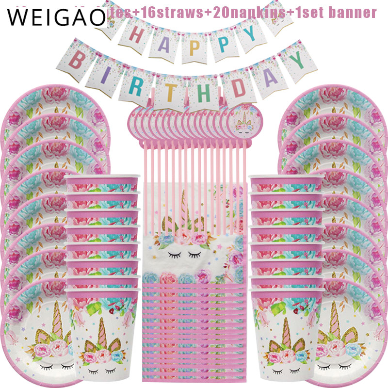WEIGAO 69pcs Unicorn Party Disposable Tableware set Unicornio Paper Plate Cup Napkins Girl Birthday Baby Shower