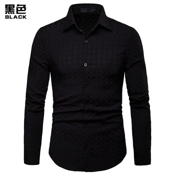 2019 Men Casual Long Sleeved Solid shirt Slim Fit Male Social Business Dress Shirt Brand Men Clothing Soft Comfortable Plus Size