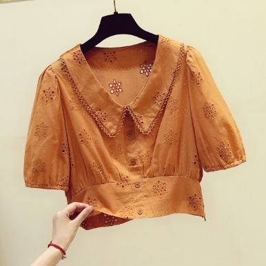 French Retro Hollow Doll Collar Casual Lantern Sleeve Shirt Female 2020 Summer Top New Style Temperament Slim Short Shirt Blouse