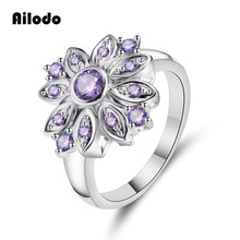 Ailodo Fashion Rings For Women Purple Cubic Zirconia Flower Shape Engagement Wedding Trendy CZ Jewelry Girls Gift LD288