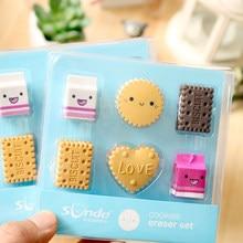 6 unids/pack caja leche goma de borrar con forma de galleta conjunto lindo de los niños de la escuela estudiante papelería corrección borradores