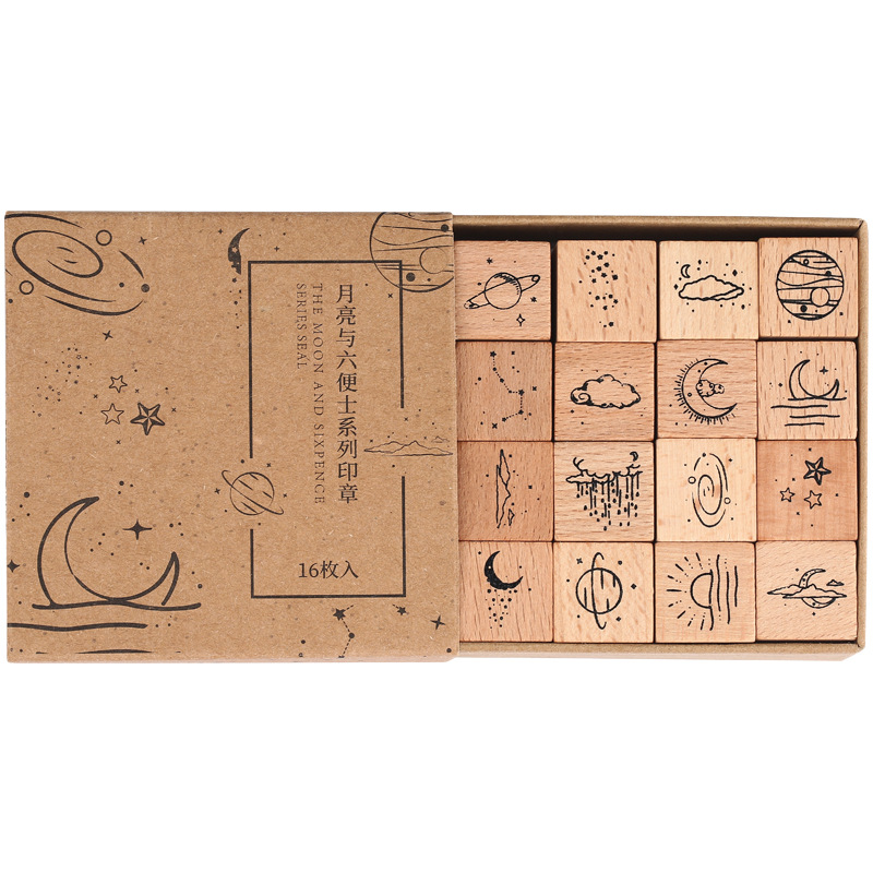 16 Pcs/Lot Vintage Planet Moon Cloud Decoration Stamp Wooden Rubber Stamps for Scrapbooking Stationery DIY Craft Standard Stamp 5