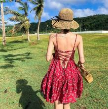 2019 Spring and summer new style Beach seaside vacation strap dress Bohemian halter Chiffon suspender