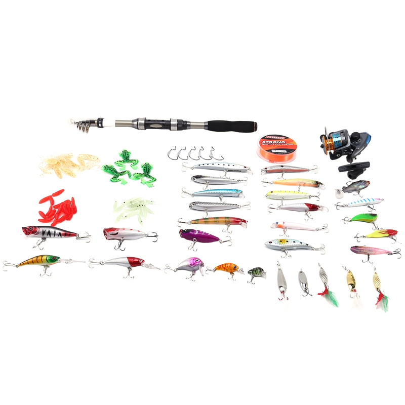 PRO BEROS Fishing Rod Set Carbon Fishing Rod and Spinning Fishing Reel and Line with Hooks Lures Fishing Accessories Full Kit