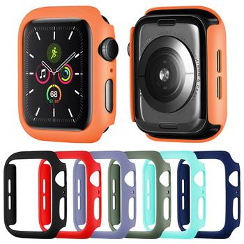 15 kolorów PC pokrowiec ochronny do Apple Watch Series 5 4 3 2 skrzynia wtryskowa 40mm 44mm 38mm 42mm zderzak do ramki iWatch tanie i dobre opinie FOLOME Z tworzywa sztucznego CN (pochodzenie) Etui na zegarek For Apple Watch BDX538 Black White Red Blue Green Gray Orange Pink Rose Yellow Clear