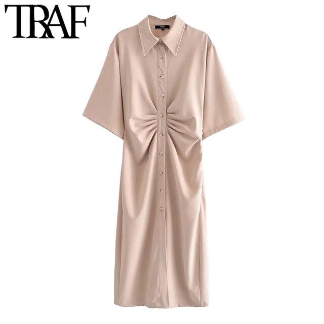 TRAF Women Chic Fashion Button-up Draped Midi Shirt Dress Vintage Short Sleeve Side Zipper Female Dresses Vestidos 5