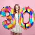 Огромные 40 дюймов радужные цифры, фольгированные воздушные шары на день рождения Audlt/Детские 2020 новогодние вечерние ничные украшения номер ...