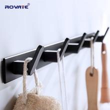 ROVATE 3/4/5/6 Hooks Coat Rack Wall Mounted Heavy Duty Hanger, Metal Coat Hook Rail for Coat Clothes Hat Towel Jacket