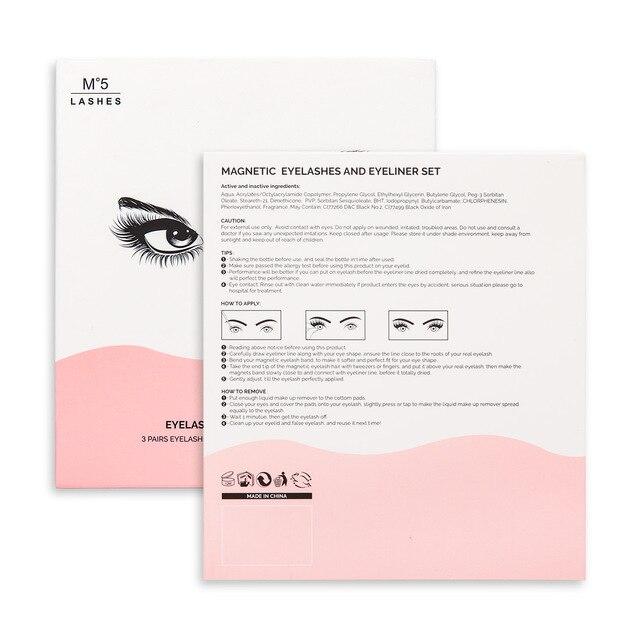 New 3 Pairs/set 3D Magnetic Fake Eyelashes Extension Natural Reusable Magnet False Eyelashes kits with Magnetic Eyeliner tweezer 5