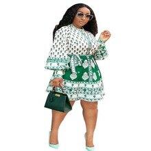 Ropa Africana Lanter de manga larga vestido de línea a mujeres Vintage impreso cintura alta Mini vestido de verano nuevo otoño Partyclub