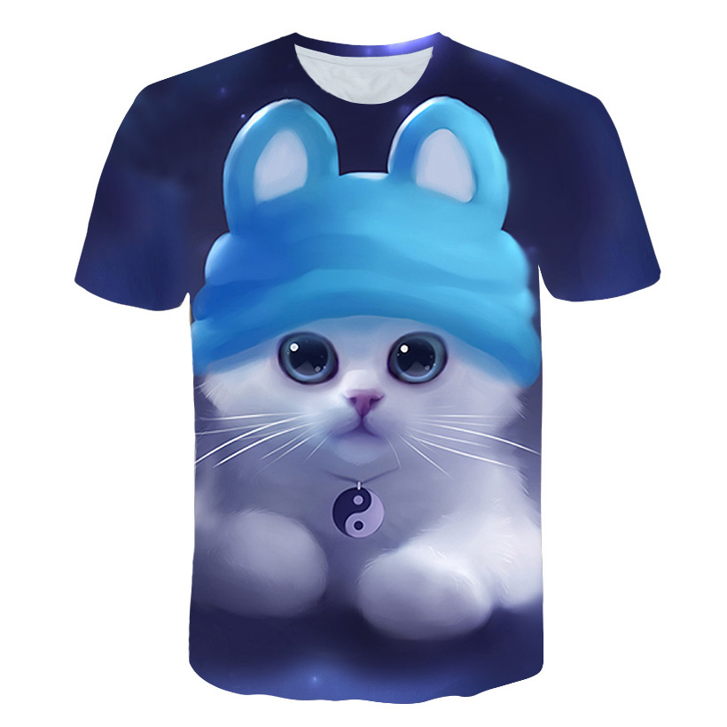 Children T-Shirt Tops Short-Sleeve Funny Girl Fashion Cartoon Summer Boy Cat Cute Streetwear title=