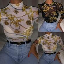 Women Mesh Sheer See Through Print Shirt Blouses Outwear Tur