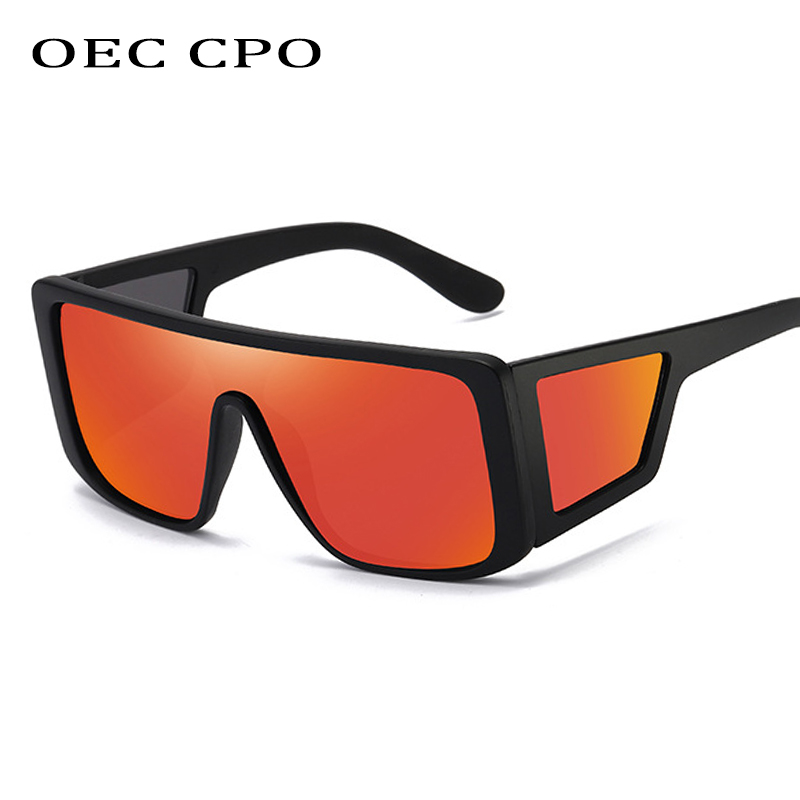 OEC CPO Oversize One Piece Shield Sunglasses Women Brand Designer Luxury Sun Glasses Men Vintage Square Shades UV400 O207
