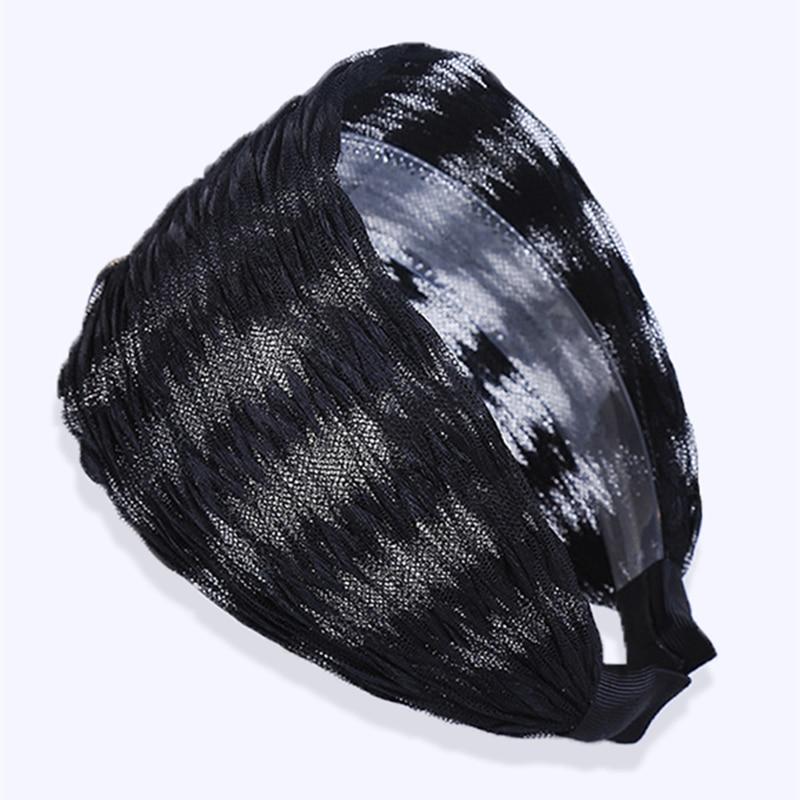 Женский сетчатый обруч для волос, широкий тюрбан, нескользящий эластичный обруч для волос, аксессуары для рук