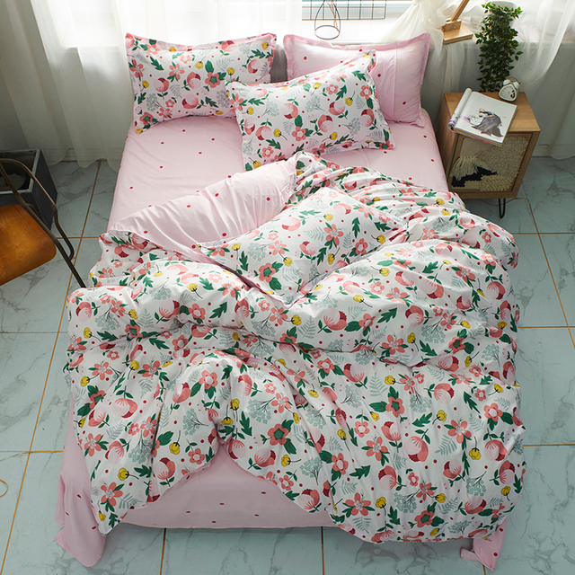 Solstice Home Textile Girl Kids Bedding Set Honey Peach Pink Duvet Cover Sheet Pillowcase Woman Adult Beds Sheet King Queen Full 4