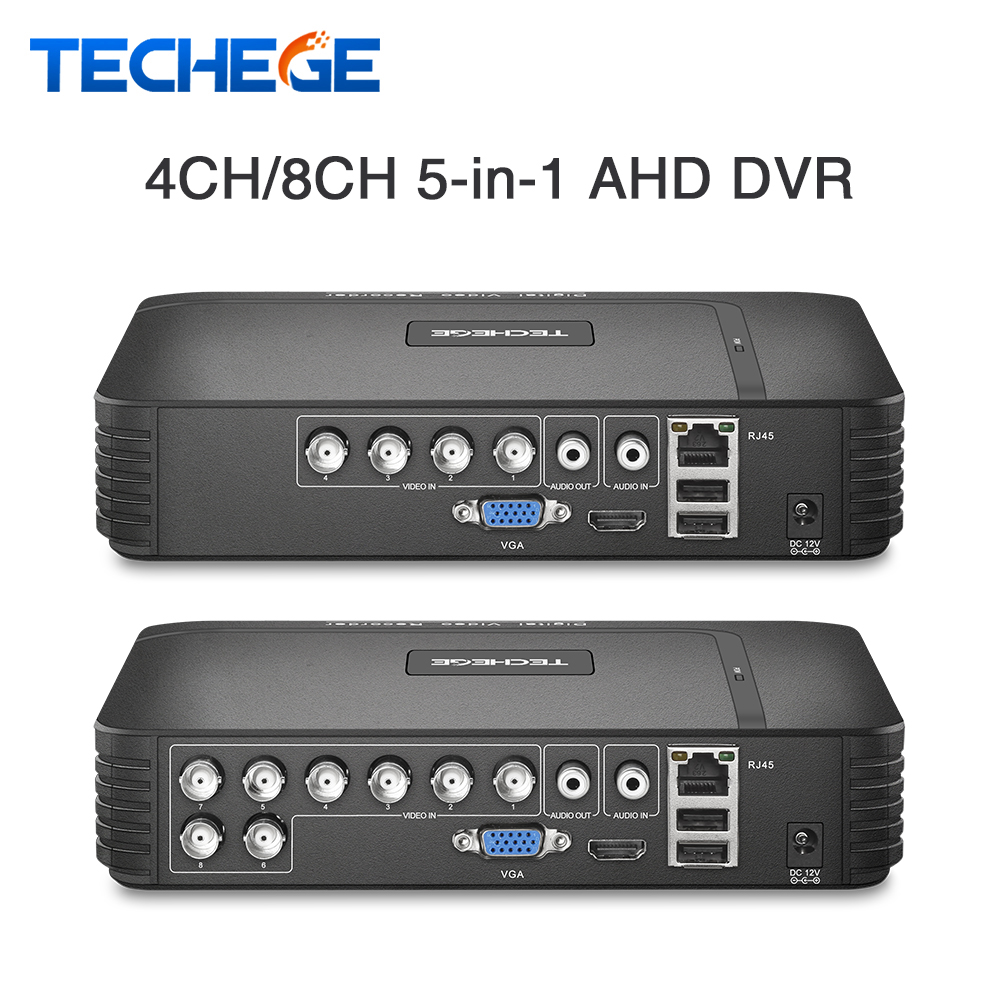 Techege 4 Channel 8 Channel AHD DVR AHD-M 720P/960H CCTV DVR 4CH 8CH Mini Hybrid HDMI DVR Support IP Analog AHD Camera P2P