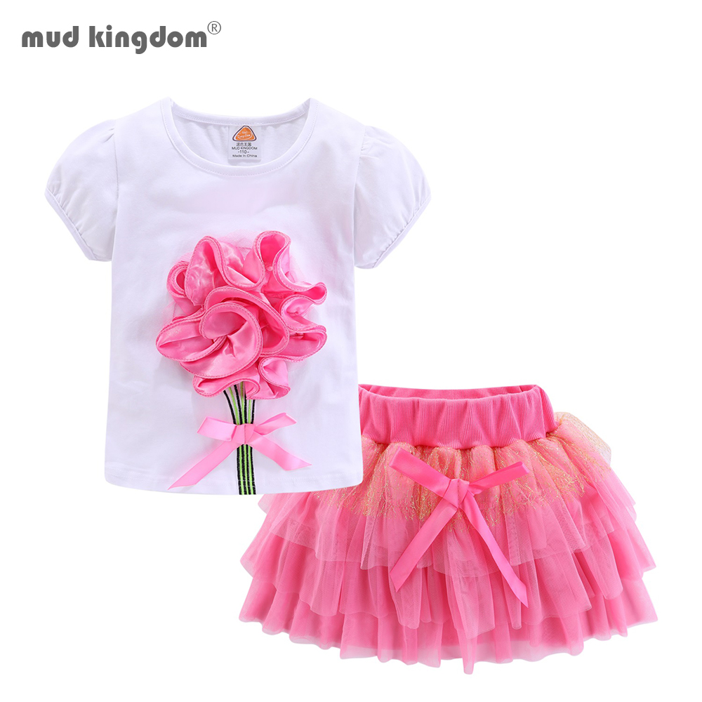 Mudkingdom Girls Outfits Boutique Flower Pattern Children Clothing Set Lace Bow Baby Girl Skirt Sets 1