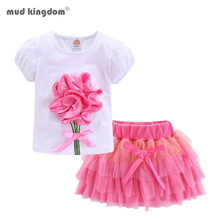 Mudkingdom Cute Girls Outfits Boutique 3D Flower Lace Bow Tulle Tutu Skirt Sets for Toddler Girl Clothes Suit Summer Noverlty