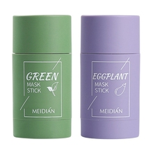 Green Tea Eggplant Purifying Clay Face Mask Stick Deep Cleansing Oil Control Anti-Acne Masks Blackhead Remover Pores Shrink M15