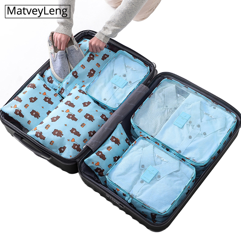 7pcs/set Luggage Organizer Bag Large Waterproof  Polyester Packing Cubes Organiser For Clothing Storage Bags Travel Accessories