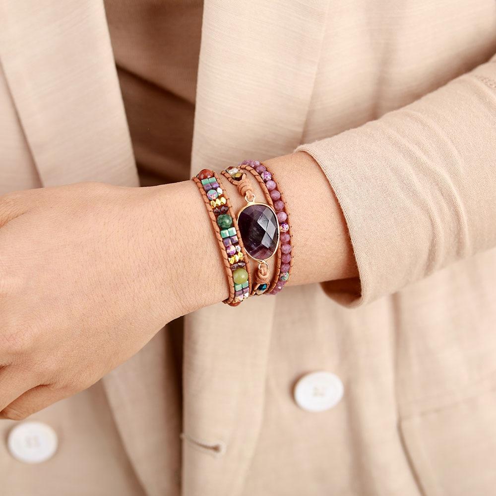 Leather Wrap Bracelets W/ Natural Stone Amethysts Crystals Beaded Triple Statement Art Bracelet Bohemian Jewelry Gifts