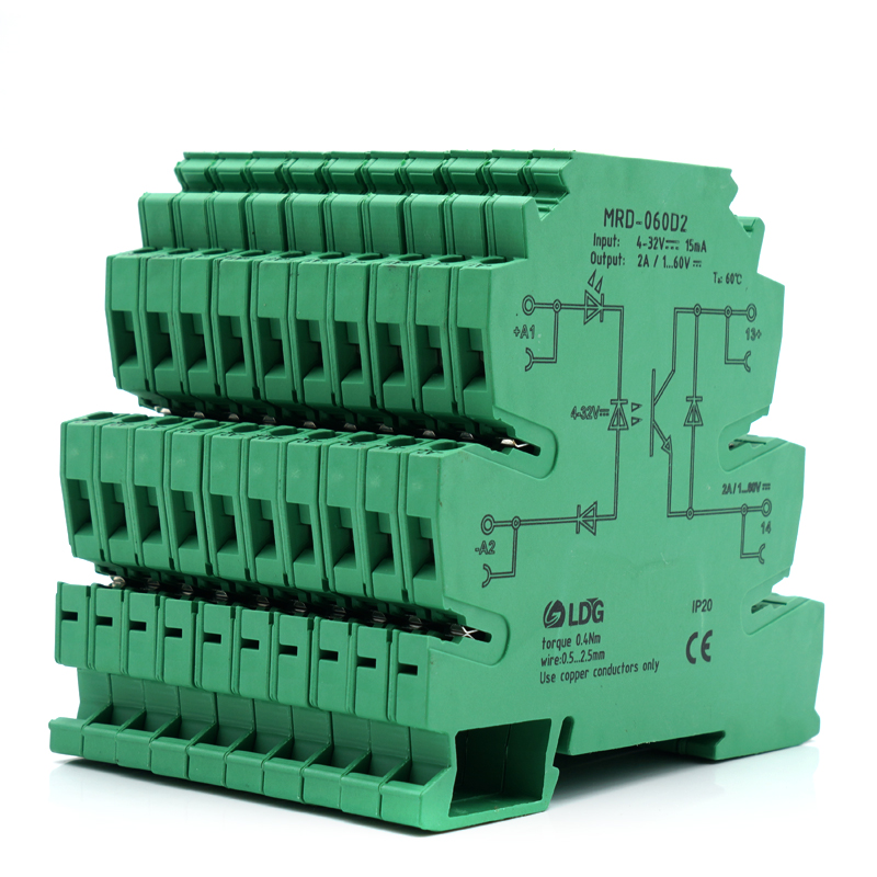 10pcs/lot MRD series Relay Module DC SSR Output 1A 2A 4A 10A 1-60VDC Solid State Relay Ultra Slim DIN Rail Relay with Led signal