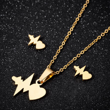 Heartbeat Necklace Pendants Gold Color Necklace for Women Fashion Stainless Steel Hollow Necklaces Wedding Jewelry Girl Gifts high quality fashion gents women stainless steel health jewelry anion fir germanium gold necklace pendants