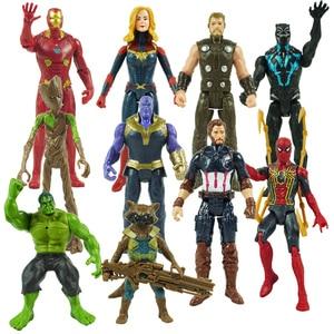 Nowy 10style 15CM Marvel Avengers figurki do zabawy Model ruchome Luminous figurki pcv zabawki kapitan ameryka Spider-Man Iron Man prezenty