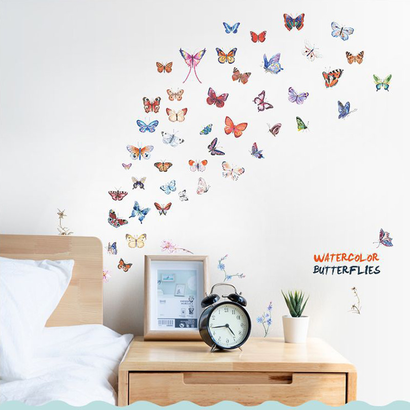 Watercolor Butterfly Combination Wall Sticker Living Room Bedroom Cabinet Wedding Decoration Home Decor Butterflies Stickers
