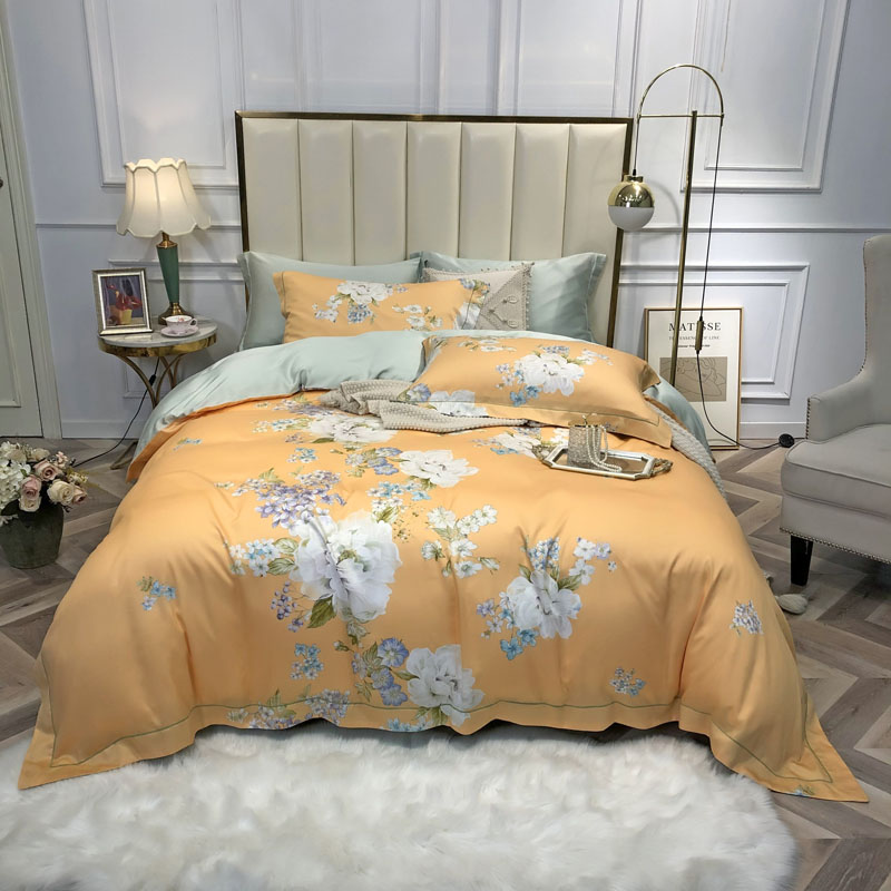 Shabby Floral Classic Duvet Cover Set 100%Tencel Silk Soft Breathable Bedding Bed Sheet Set Pillowcases Queen King Size 4Pcs