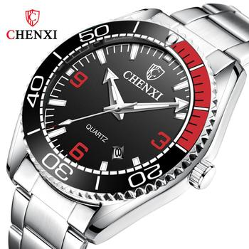 CHENXI Brand Fashion Casual Men Watches Male Stainless Steel Quartz Sport Wristwatch Unique Luminous Hands Waterproof Clock Gift wood business watches with waterproof luminous clock bewell men wooden wristwatch for male watch your family christmas gift 146a