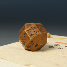 Paperweights Chinese-Calligraphy Ink-Painting Polyhedron Bronze Creative Vintage Portable