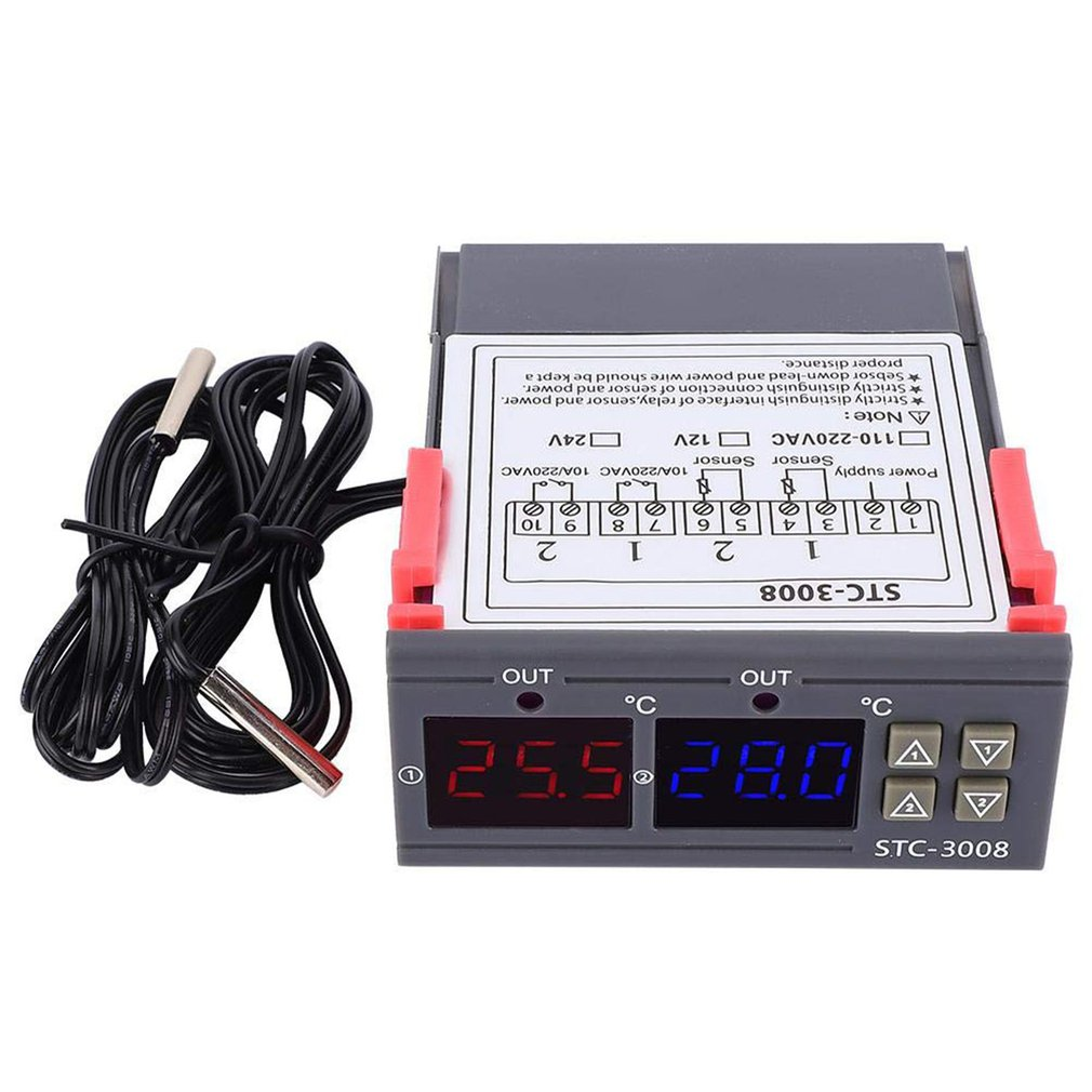12/24/110-220V Dual LED Probe Temperature Controller Thermostat Temperature Control Meter With LED Display STC-3008