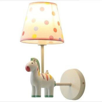 White/Pink Horse Animal Wall Lamp for Kid's Room Kindergarten Resin Fabric Lovely Animal Porch Light 2577