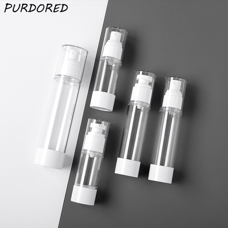 PURDORED 1 Pc Women Spray Cosmetic Lotion Bottle Clear Traveler Press Bottle Shampoo Packing Bottle  Liquid Dispenser Bottles