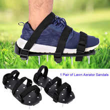 Shoes Grass Lawn-Aerator Spiked Garden-Tools with Plastic Buckle Sandals Heavy-Duty 1-Pair