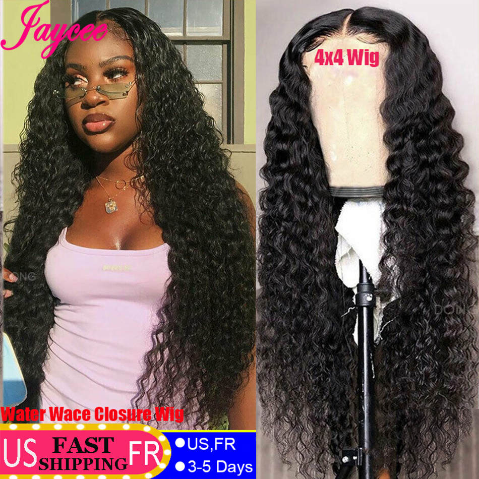 Brazilian Wig 4*4 Human Hair Wigs For Black Women Wet And Wavy Wig Natural Wave Lace Closure Wig With Baby Hair Water Wave Wig