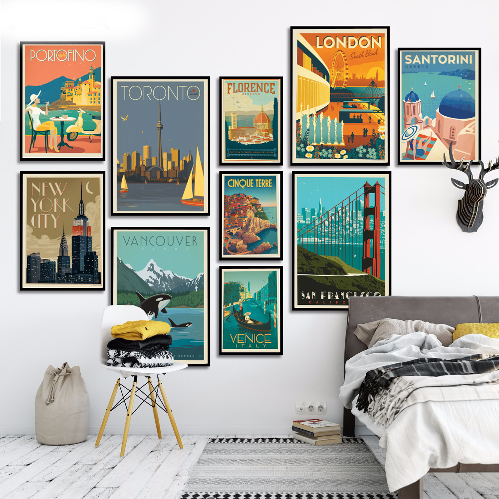 Canvas Painting Posters Wall-Pictures London Travel New York Living-Room-Decor Prints